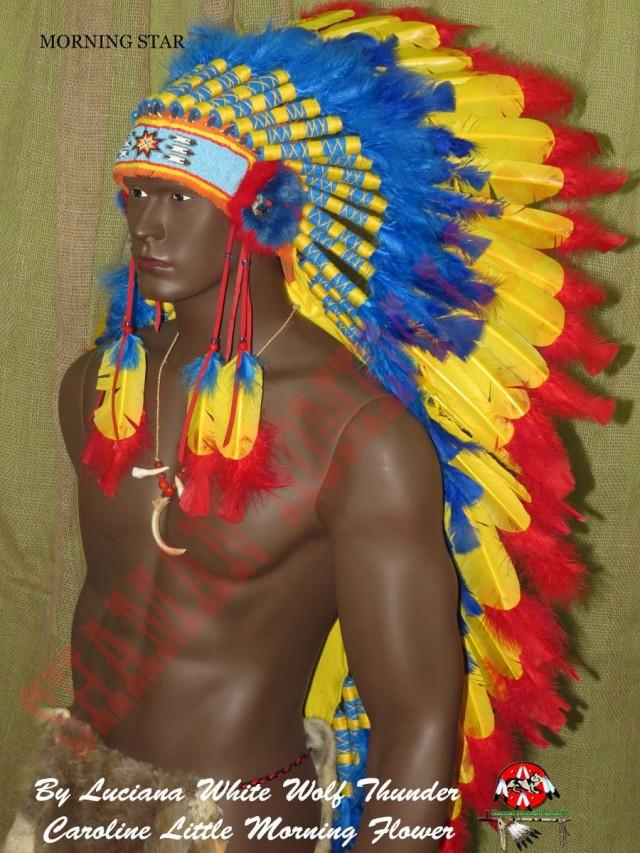 Cocar Indigena (Warbonnet) Morning Star Trailer Longo (700)