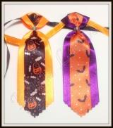 Gravata de cetim com fita decorada de Halloween