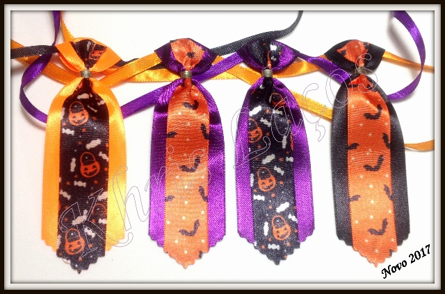 Gravata para cães com fita decorada de Halloween