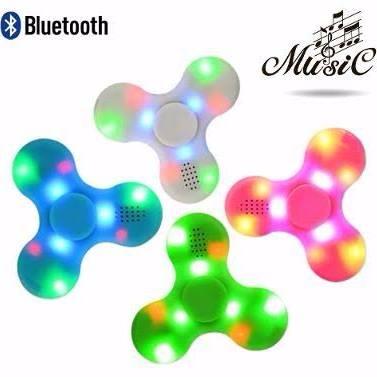 Spinner Bluetooth Toca Musica Com Luzes Led Recarregavel
