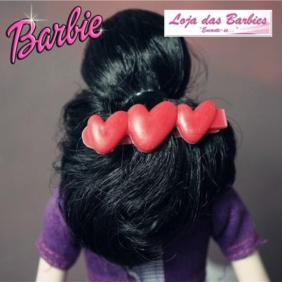 Presilha De Cabelo Para Barbie *Modelo Travessa Corações* (Vermelha)