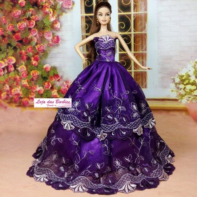 Coleção SUPER LUXO : Vestido Para Barbie + Par De Sapatinhos #13V