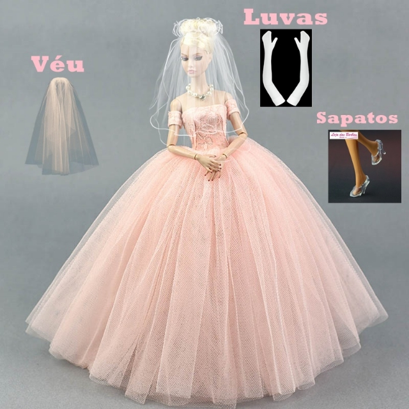 Coleção Noivas LUXO : Vestido De Noiva Para Barbie + Véu + Luvas + Par De Sapatos #18N