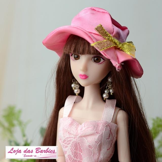 Chapéu Para Boneca Barbie * Modelo Gala (Rosa & Dourado)