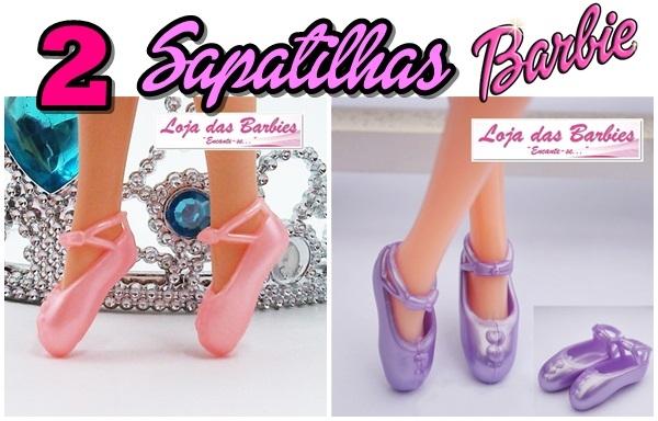 *KIT PROMOCIONAL* 2 Pares De SAPATILHAS De Ballet Para Barbie (Modelo Meia-Ponta: 1 Rosa + 1 Lilás)