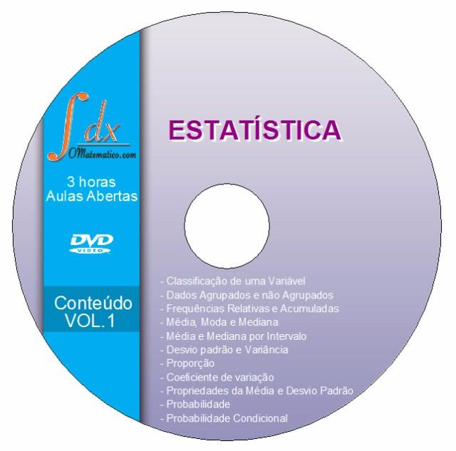 DVD Estatística VOL.1 com 3h de aulas abertas