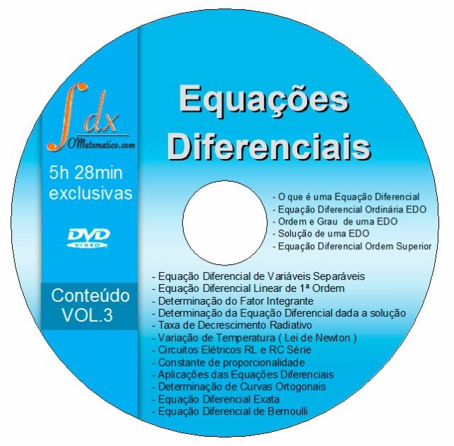 Dvd Equações Diferenciais vol.3 com 5h28min aulas exclusivas(NÃO estão no youtube)