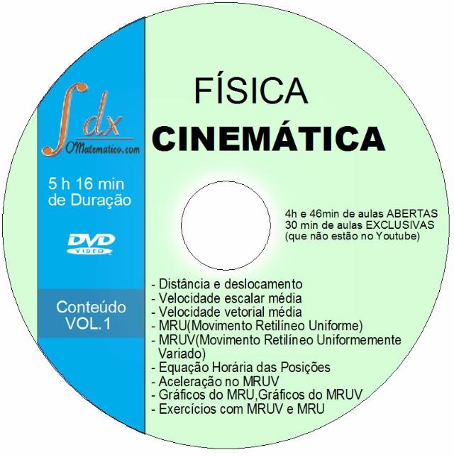 Dvd Física - Cinemática vol.1 - 30min aulas exclusivas(NÃO estão no Youtube) e 4h46min aulas abertas
