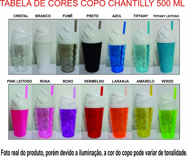 1. TABELA DE CORES DOS COPO SHAKE TWISTER CHANTILLY DE 500 ML