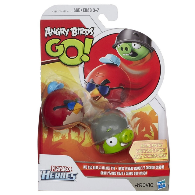 2 Figuras Angry Birds Go! - Big Red e Helmet Pig -