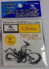 Anzol Tacom chinu no. 03 revestido com teflon cartela c/10 pçs.