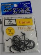 Anzol Tacom chinu no. 09 revestido com teflon cartela c/10 pçs.