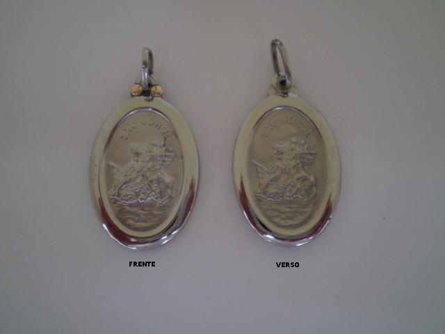 Pingente de São Jorge em Aço Inox e Ouro 18K PDR-3823