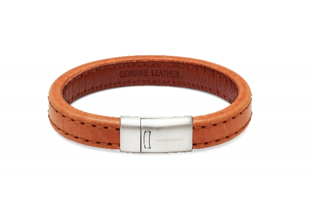 Bracelete De Couro Rosso Steel