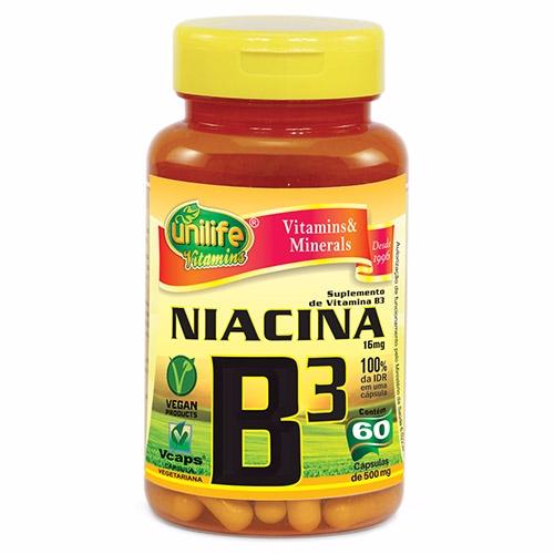 Vitamina B3 Niacina - 60 Cápsulas de 500 mg