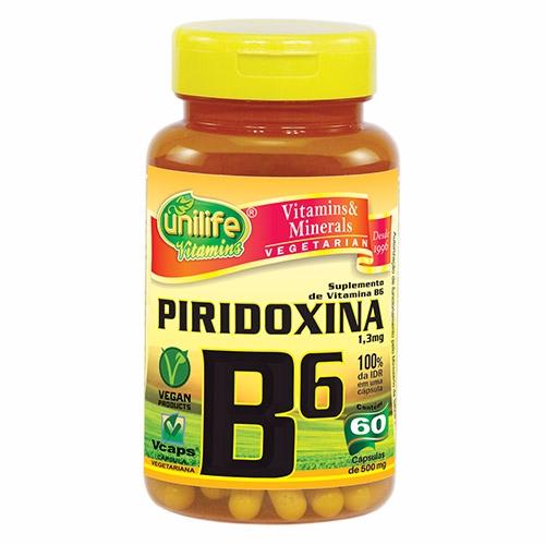 Vitamina B6 Piridoxina - 60 Cápsulas de 500 mg