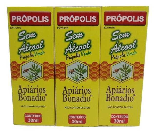 Extrato de Própolis Verde Sem Álcool 30 ml Apiários Bonadio Kit com 6 unidades
