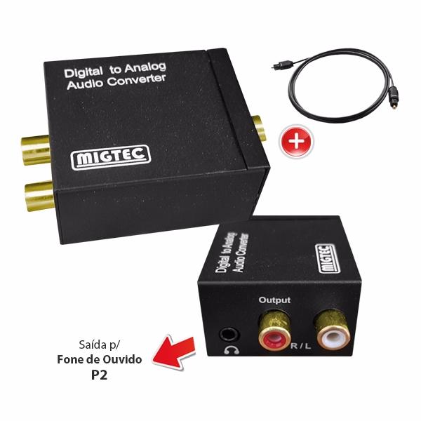 Conversor Áudio Óptico Coaxial para Analógico RCA + saída P2 - DK201 + Brinde cabo óptico de 2 mts