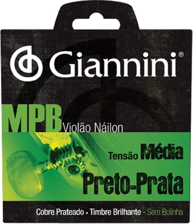 Encordoamento para Violão Nylon MPB Tensão Média Preto-Prata GENWBS